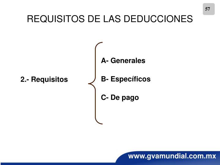 REQUISITOS DE LAS DEDUCCIONES