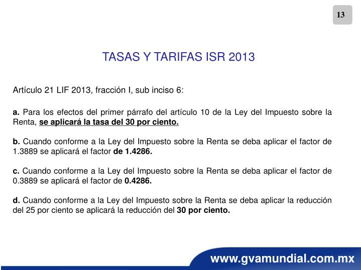 TASAS Y TARIFAS ISR 2013