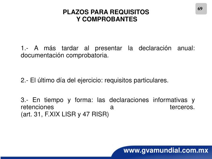 PLAZOS PARA REQUISITOS