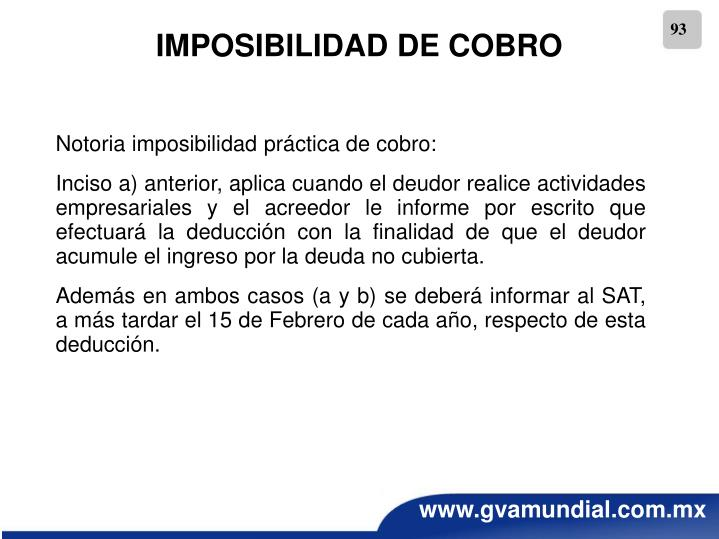 IMPOSIBILIDAD DE COBRO