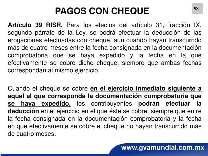 PAGOS CON CHEQUE