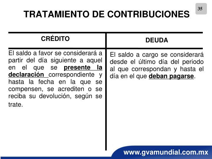 TRATAMIENTO DE CONTRIBUCIONES