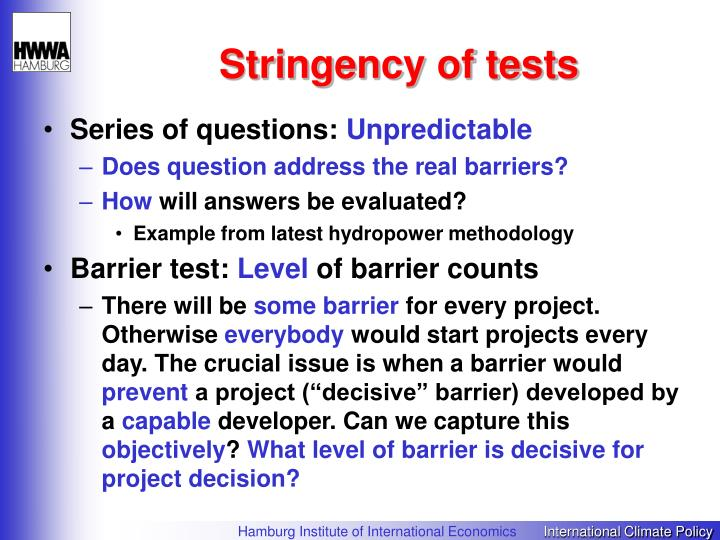Stringency of tests