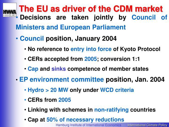 The EU as driver of the CDM market