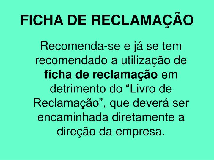 FICHA DE RECLAMAÇÃO