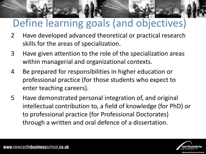Define learning goals (and objectives)