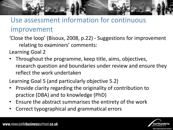 Use assessment information for continuous improvement