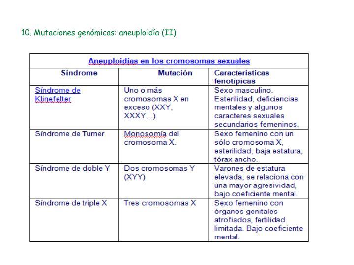 10. Mutaciones genómicas: