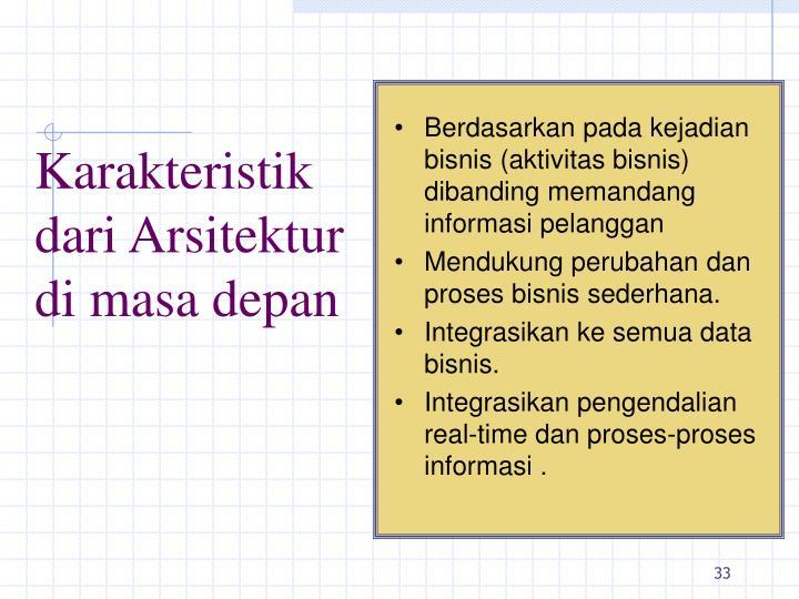 Berdasarkan pada kejadian bisnis (aktivitas bisnis) dibanding memandang informasi pelanggan