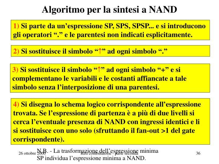 Algoritmo per la sintesi a NAND
