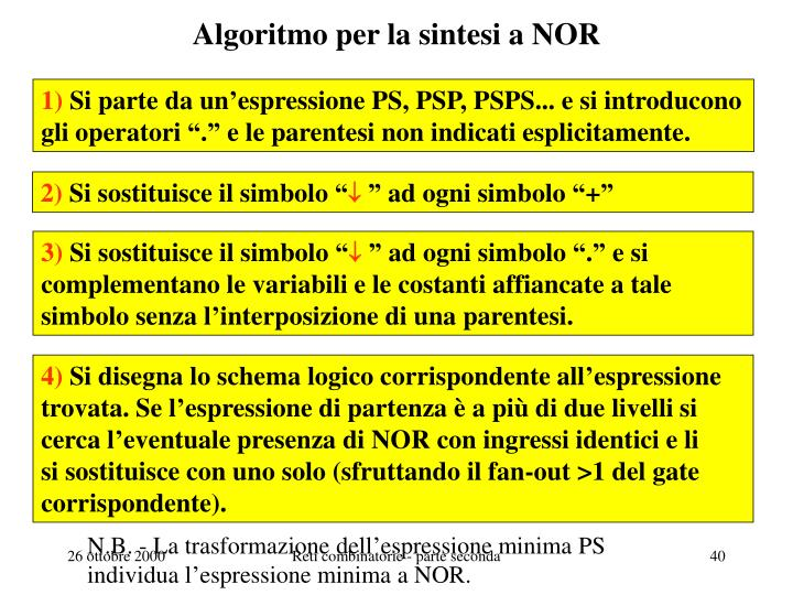 Algoritmo per la sintesi a NOR