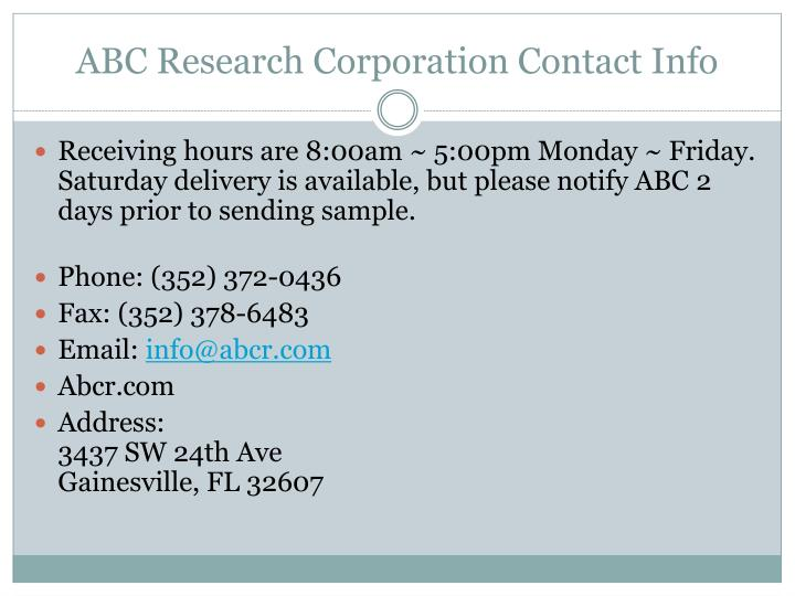 ABC Research Corporation Contact Info