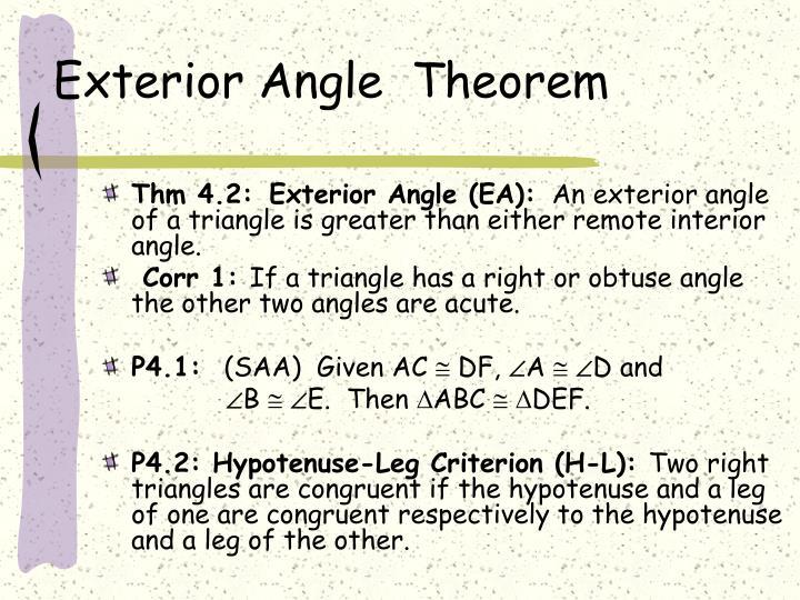 Exterior Angle  Theorem