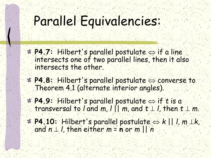 Parallel Equivalencies: