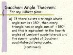 saccheri angle theorem for any hilbert plane