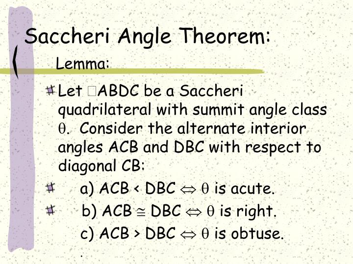 Saccheri Angle Theorem: