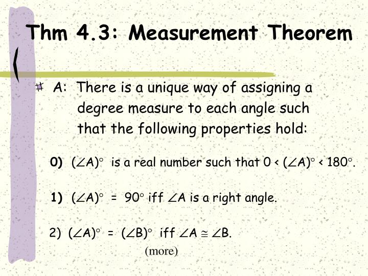 Thm 4.3: Measurement Theorem