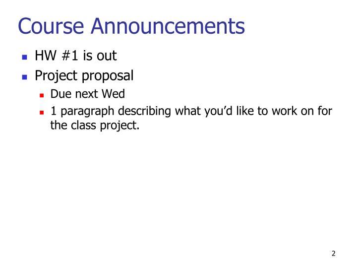 Course Announcements