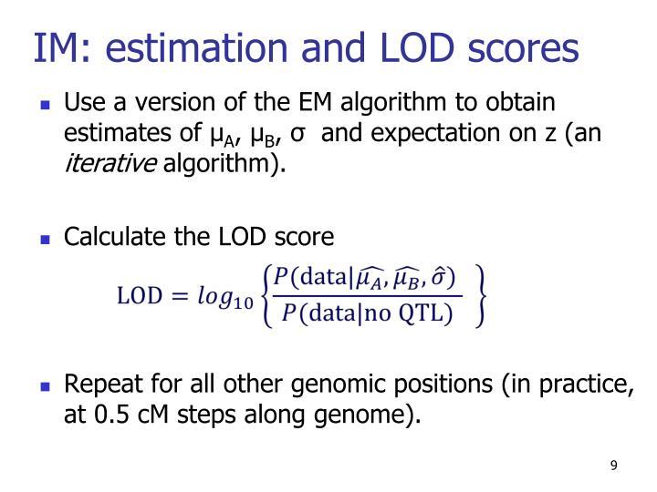IM: estimation and LOD scores