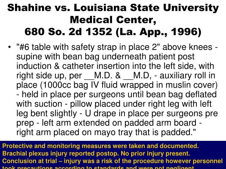 Shahine vs. Louisiana State University Medical Center,