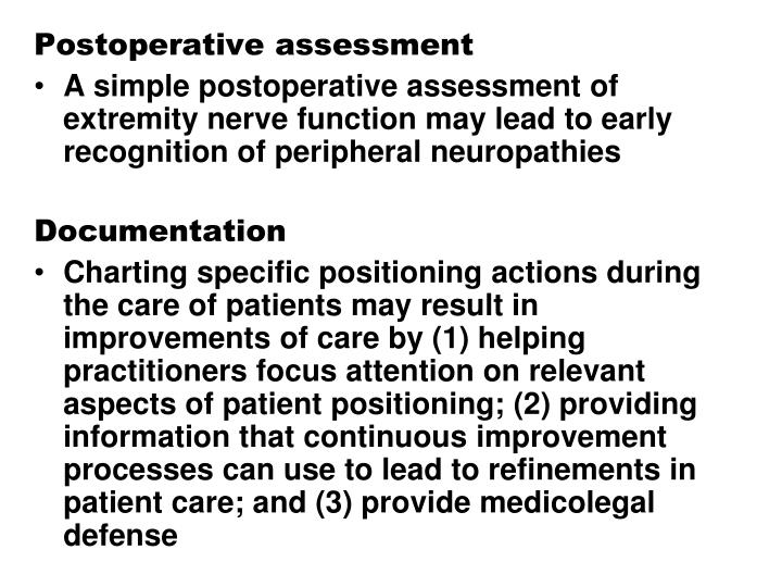 Postoperative assessment