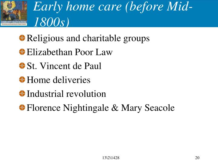 Early home care (before Mid-1800s)