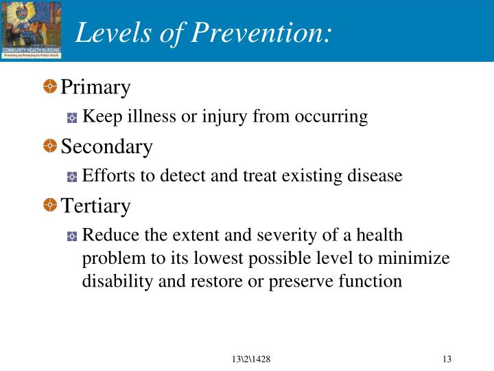 Levels of Prevention: