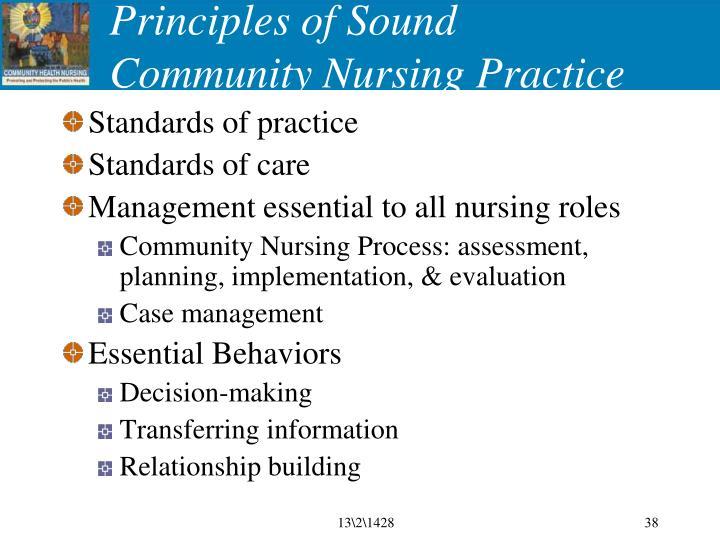 Principles of Sound Community Nursing Practice