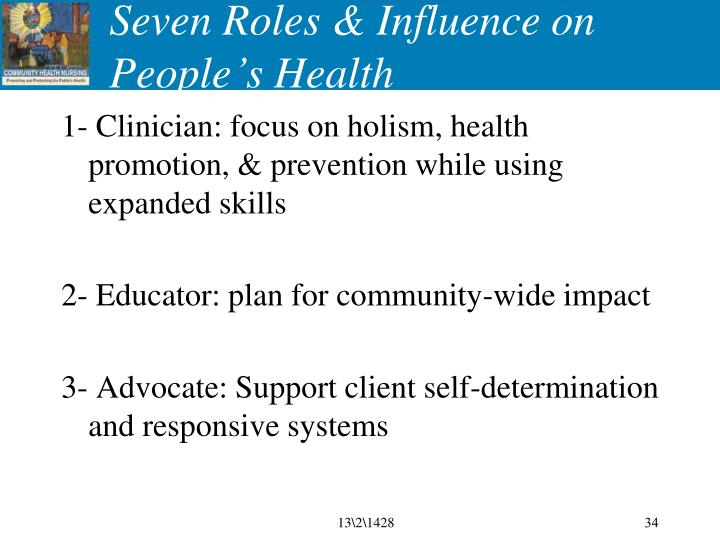 Seven Roles & Influence on People's Health