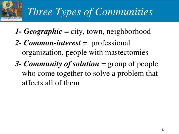 Three Types of Communities