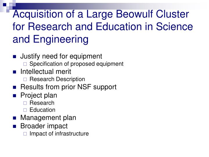 Acquisition of a Large Beowulf Cluster for Research and Education in Science and Engineering