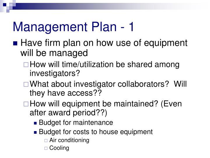 Management Plan - 1
