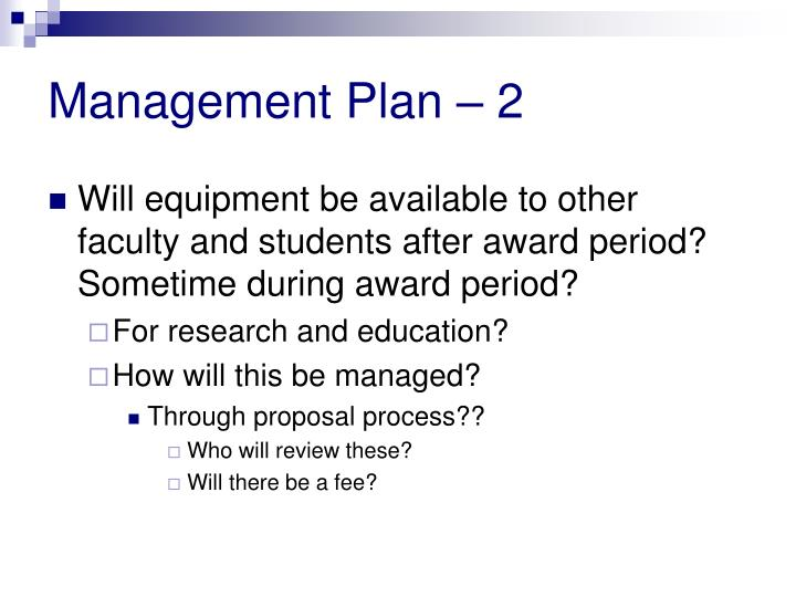 Management Plan – 2