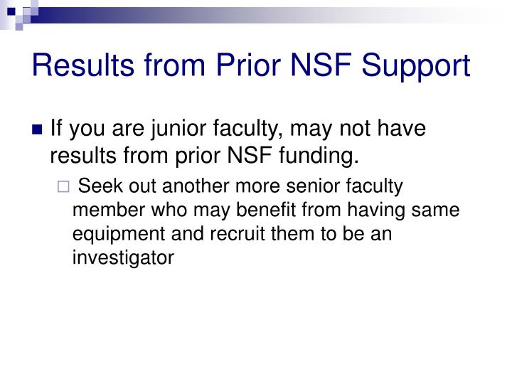 Results from Prior NSF Support
