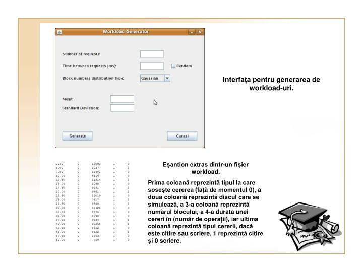 Interfața pentru generarea de workload-uri.