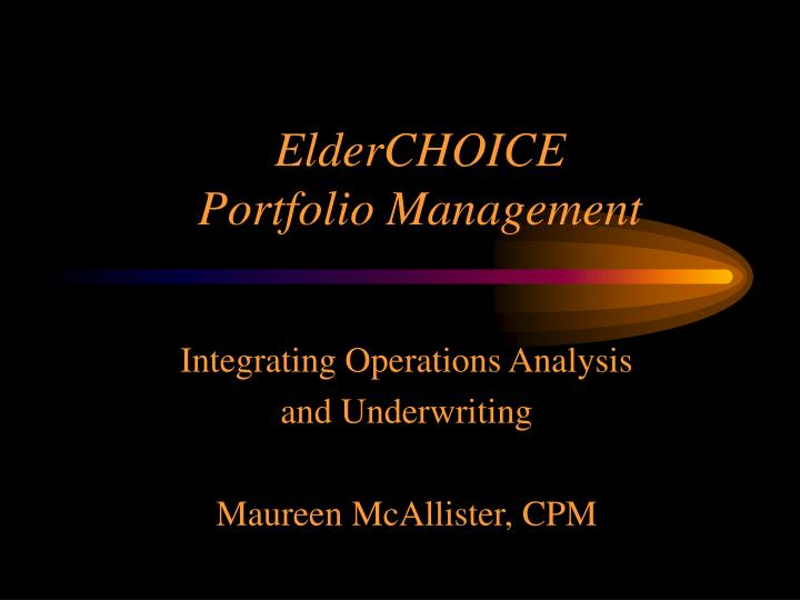Elderchoice portfolio management