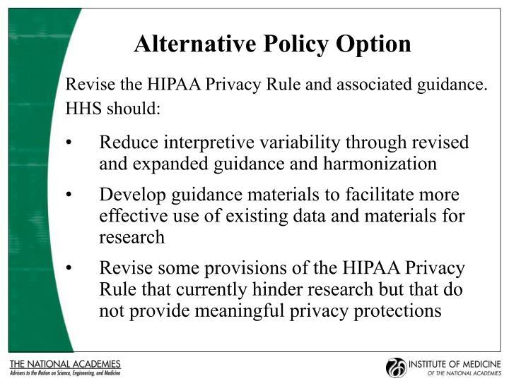 Alternative Policy Option
