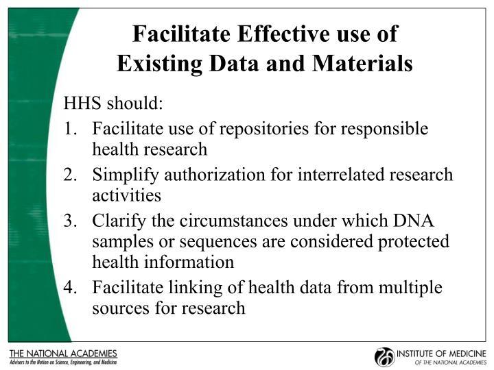Facilitate Effective use of