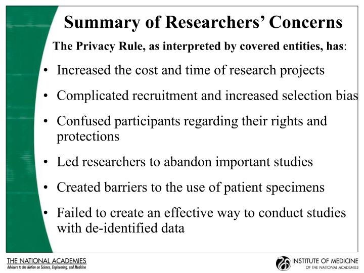 Summary of Researchers' Concerns