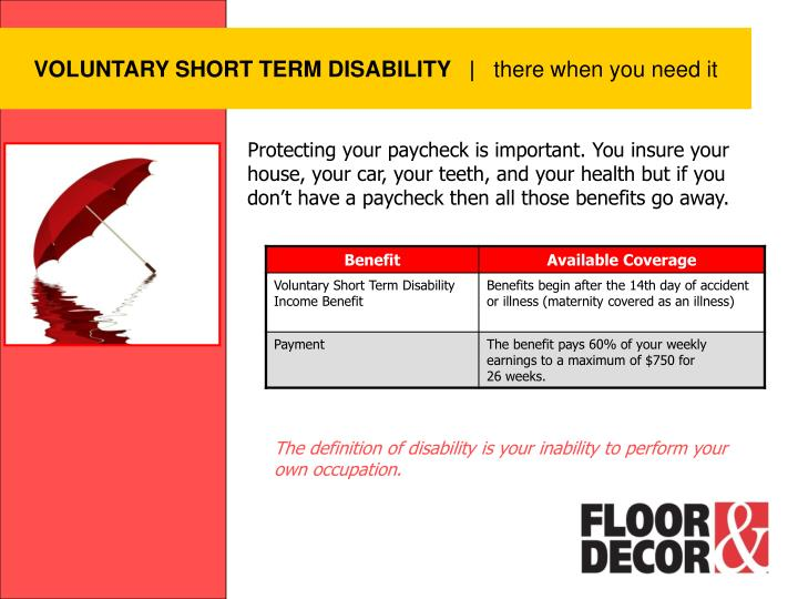 VOLUNTARY SHORT TERM DISABILITY
