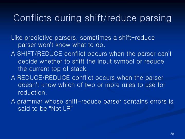 Conflicts during shift/reduce parsing
