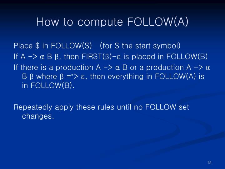 How to compute FOLLOW(A)