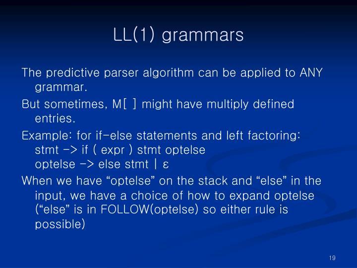 LL(1) grammars