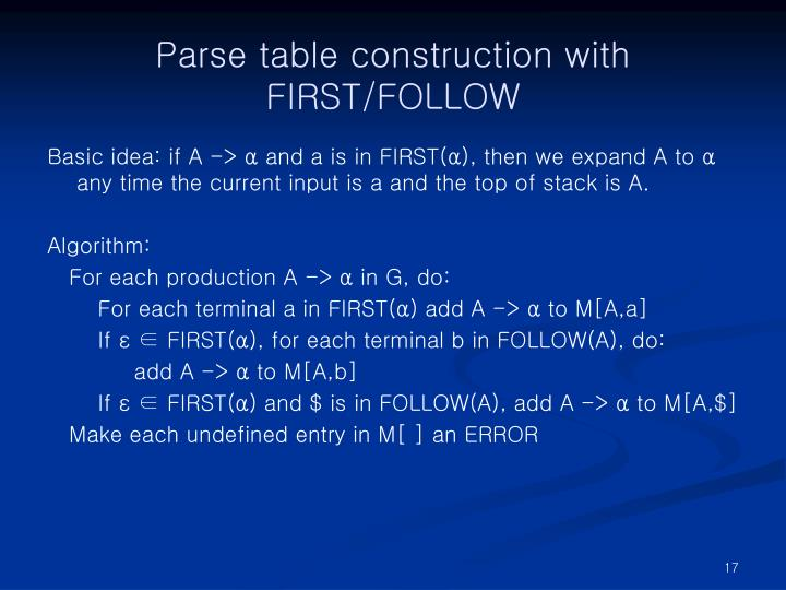 Parse table construction with
