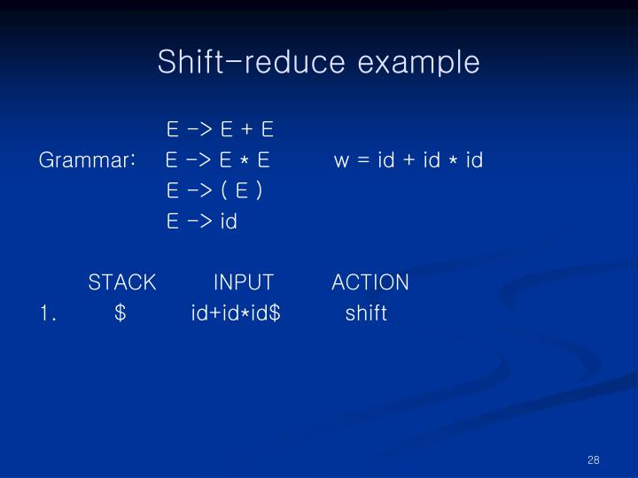 Shift-reduce example
