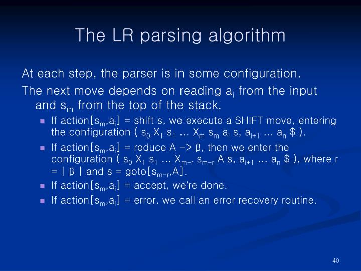 The LR parsing algorithm
