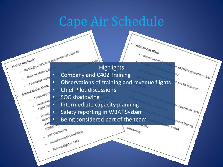 Cape Air Schedule