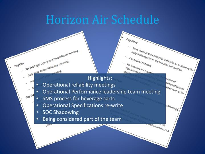Horizon Air Schedule