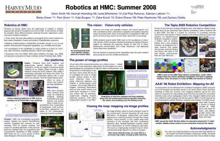 Robotics at HMC: Summer 2008