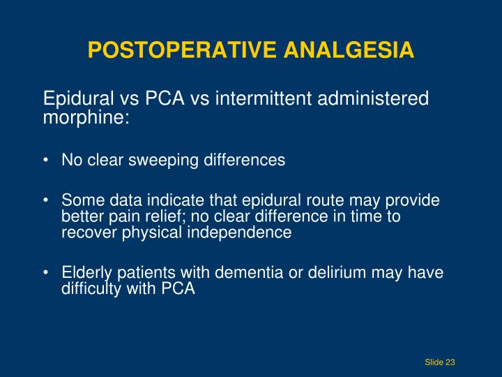 Postoperative Analgesia